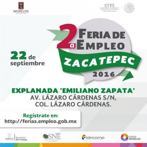 """<a href=""""/noticias/2a-feria-de-empleo-zacatepec-2016"""">2° Feria del Empleo Zacatepec 22 de Septiembre del 2016</a>"""