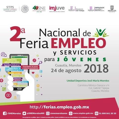 Te invitamos a la 2° Feria de Empleo y Servicios para jóvenes Cuautla 2018