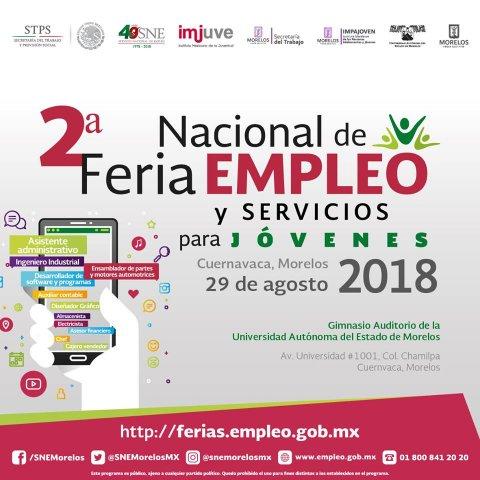 """<a href=""""/2da-feria-empleo-para-jovenes-cuernavaca-2108"""">Te invitamos a la 2° Feria de Empleo y Servicios para jóvenes Cuernavaca 2018</a>"""