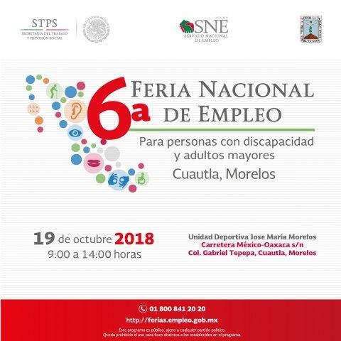 Te invitamos a la 6° Feria Nacional de Empleo para personas con discapacidad y adultos mayores Cuautla