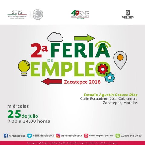 "<a href=""/2daferia-de-empleo-zacatepec-2018""> Te invitamos a la 2° Feria de Empleo Zacatepec 2018</a>"